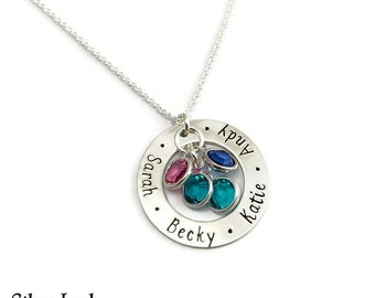Personalized Hand Stamped Sterling Silver Washer Necklace - Custom Jewelry for Mom with 4 Birthstones