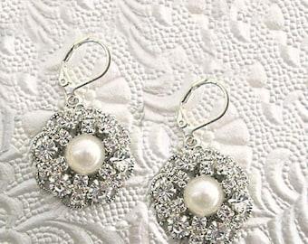 Wedding Earrings, Pearl Dangle, Crystal Drop,Bridal Earrings,Ivory pearl Earrings, White Pearl Earrings, Rhinestone Pearl, Wedding Jewelry