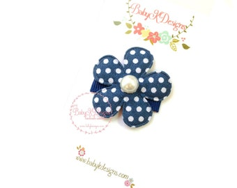 Newborn Baby Bows |Baby Hair Clips | Light Navy n White Polka Dot Snap Clips | Itty Bitty Baby Bow Clips / Toddler Alligator No Slip Clips