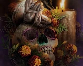 Fairy Pictures -Día de Muertos... Day of the Dead Art- Fairy Picture Art Print - Fantasy Art - Sugar Skull Fairy Art - Fairy Lights