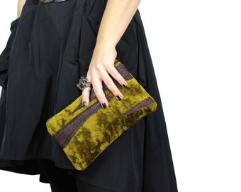Moss Green Velour with Leather Zebra Stripes Zipper Clutch / Pouch