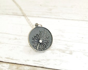 Dandelion necklace, wish charm, sterling silver jewelry, gift for her best friend or mom, flower jewelry