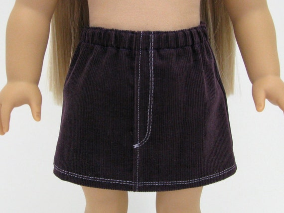 """Fits Like American Girl Doll Clothes - 18 Inch Doll Clothes - 18"""" Doll Clothes -  Corduroy Skirt - 18 Inch Skirt - Dark Purple -Doll Clothes"""