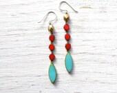 Long Earrings // Turquoise Earrings // Beaded Earrings // Statement Earrings // Boho Earrings // Dangle Earrings // Gifts Ideas for Womens