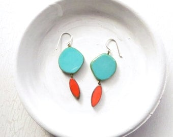 Turquoise Statement Earrings // Colorful Earrings // Beaded Earrings // Dangle Earrings // Red and Turquoise // Made in Montana // For Her