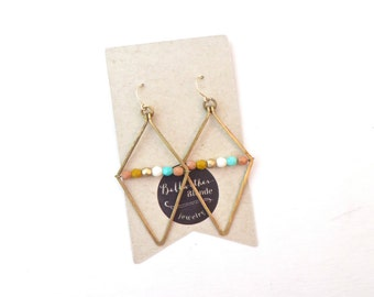 Wire Wrapped Earrings // Geometric Earrings // Unique Earrings //  Gifts For Sisters // Gifts For Friends // Under 30