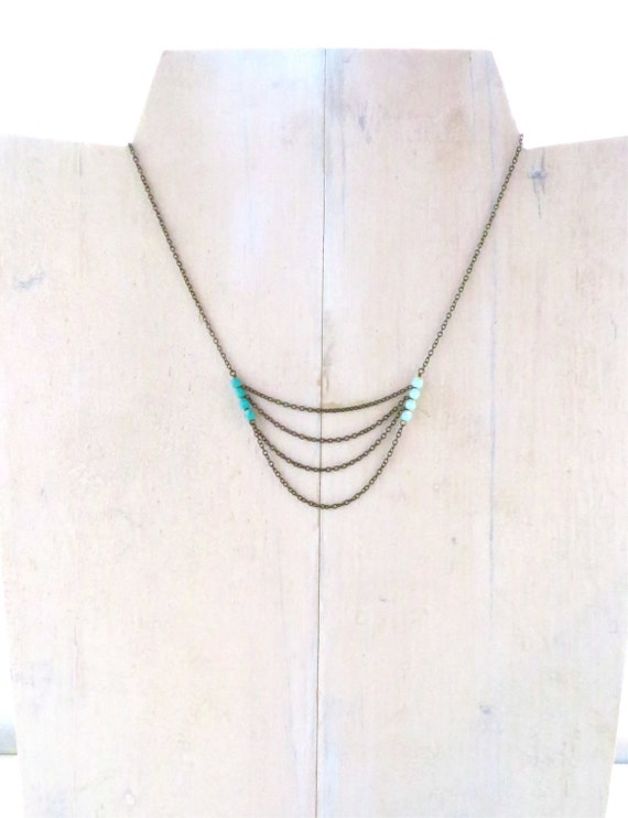 Beaded Chain Necklace / Turquoise Necklace / Staggered Chain Necklace / Layered Chain Necklace / Gifts For Her / Boho Jewelry / Handmade