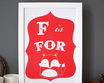 Fox Print - F is for Fox alphabet poster