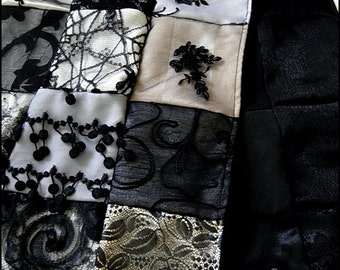 Moonlight Sonata Patchwork Shawl Scarf or Table Runner - One of a Kind by Kambriel - Made From 117 Fabric Pieces Brand New & Ready to Ship!