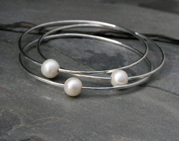 White Pearl Sterling Silver Bangles, Three Stacking Bracelets, Stackable Set of 3 Solid Sterling Silver Bangles, Natural Freshwater Pearls