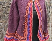 Bell sleeved sweater handmade orange purple dark pink gypsy hippie medium boho bell sleeve cardigan