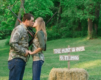 Save The Date Sign Wedding Sign Photo Prop Rustic Wedding Photos Country Wedding Prop Photobooth The hunt is over sign