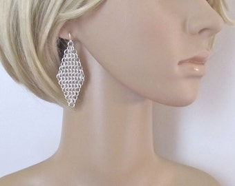Sterling Silver Non Tarnish Euro 4 in 1 Chainmaille Earrings - Large Diamond Shaped Silver Chain Mail Earrings - 315038