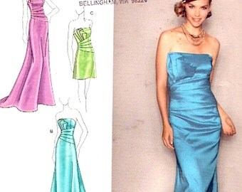 Evening wear dress Designer  Jessica McClintock sewing pattern Halter or strapless party gown or Wedding Simplicity 2252 Size 12 to 20 UNCUT