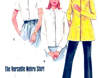 Womens Nehru tunic button front blouse top sewing pattern Vintage Butterick 5046 sewing pattern Bust 38