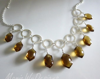 20%off-Exceptional Unique Cognac Quartz Multi Briolette-Fresh Water Pearls-Sterling Silver Hoops-Contemporary Adjustable Necklace