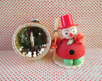 Little Vintage Snowman and One Christmas Diorama Ornament