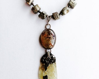 Ancient Roman Glass Dendritic Agate Necklace