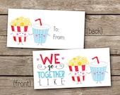 INSTANT DOWNLOAD - Valentine Treat Bag Topper - Popcorn and Soda - We Go Together - Printable Digital File - Design 26