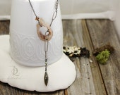Sterling Salt of the Earth // Boho Lariat Agate Druzy and Pyrite Geode Slice Necklace in Stering Silver by Bellaalili