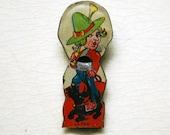 Vintage Tin Whistle Pilgrim Girl with Scottie Dog Cracker Jack Prize Tin Litho Metal Toy Trinket Pre War Japan Collectible