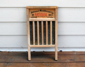 Vintage National Washboard No. 801 Wood and Brass Rustic Farmhouse Chic Primitive Laundry Room Decor Scrub Panel Roots Musical Instrument
