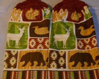 Crocheted top Wildlife towel set Wild animal Handle Top Kitchen Towel Set  Granny Kitchen Towel Hand Towel Set