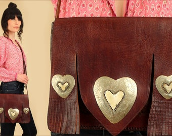 ViNtAgE HEARTS Leather Purse Fringe 60's 70's Handbag  // Artisan Flowers // Brown Gypsy Hobo Hippie BoHo Bohemian Morroccan