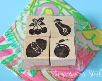 4 pc FRUIT stamp set