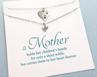 Mother Daughter Jewelry | Handprint Necklace, Mother Daughter Necklace, Gift for Daughter, Necklace Set, Gift for Mom, Daughter Gift | MD05