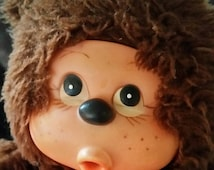 Vintage avlon 1980s stuffed thumbsucker monkey bear doll big eyes sekiguichi style brown fur cute kawaii made in usa like monchichi clone