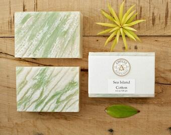 Sea Island Cotton Soap | Vegan Soap, Bath and Body Soap, Cold Process Soap, Cold Pressed Soap, Homemade Soap for Men, Womens Gift Soap