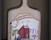 Spring Primitive Bunny Rabbit Saltbox Wood Cutting Board Home Decor Kitchen Decoration