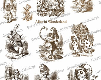 Sepia Alice In Wonderland Download Digital Collage Sheet mad hatter white rabbit cat Queen of Hearts vintage images No.322