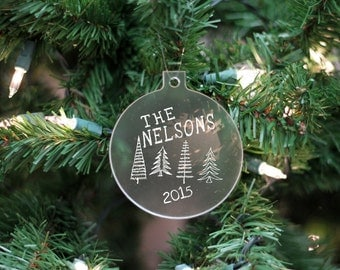Custom Name Ornament, Family Name Ornament, Personalized First Christmas Ornament, Frosted White Name Ornament --24105-OR05-500