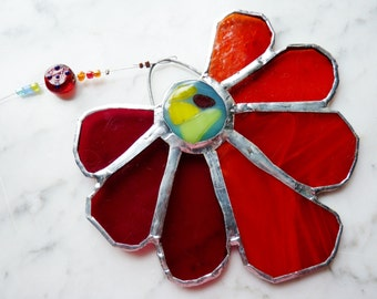 August - Brilliant Stained Glass Suncatcher Sunflower with Fused Cab Centerpiece and Beads