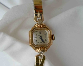 Vintage Fifties 14k Gold Bulova Watch or Bracelet Mid Century Classic Time Piece / Wedding Deco Style Time Travel