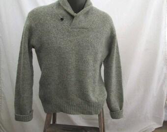 LL Bean Vintage 70s Sweater Shawl collar ragg wool heather Gray cream Lumberjack Winter pullover M L
