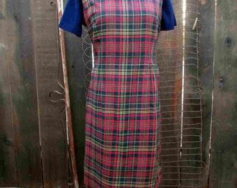 60s vintage Plaid Dress Vintage berry red plaid dress Sleeveless cotton plaid dress L