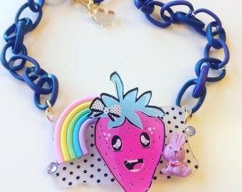 Sale!!! Rainbow straberry deco Necklace