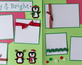 12x12 Premade Scrapbook Pages - ChRiSTmAs layout -- MERRY and BRIGHT-- penguins, family memories, kid, boy, girl, baby, Christmas Eve