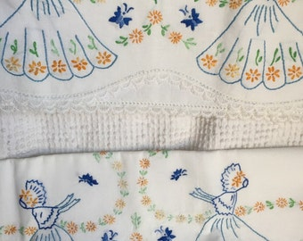 Pair of Vintage Hand Embroidered Pillow Cases - Ladies in Dresses and Bonnets - Scalloped Lace Edges - Beautiful and Unused