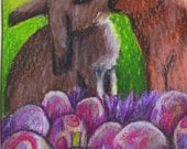 original art drawing aceo card bunnies Easter eggs