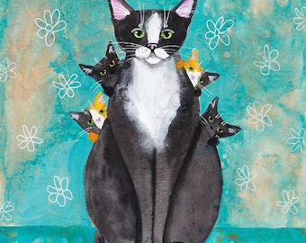 Mothers Day Cat with Kittens - Folk Art Giclee Print 8x10, 11x14