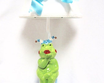 Frog Jester Lamp - kids room lamp - whimsical lighting - nursery lamp - frog decor