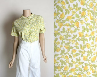 Vintage Strawberry Novelty Print Blouse - Cotton 1960s Button Up Lemon Yellow and Lime Green Berry Print Shirt - Small Medium