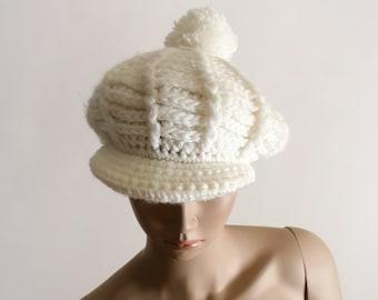 Vintage Knit Tam Hat - Pure White Pom Pom Crochet Beret