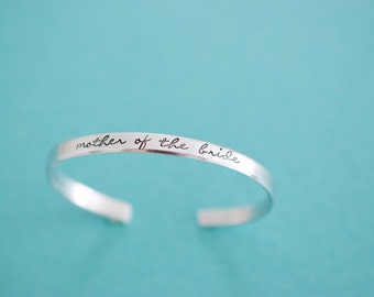 Mother of the Bride Bracelet - Handstamped Bridal Jewelry - Skinny 1/5 inch