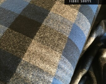 Hipster Flannel fabric, Buffalo Plaid, Flannel by the yard, Lumberjack Chic, Mammoth Flannel, Med Plaid in Gray/Blue/Black 115