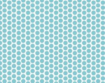 Aqua Polka Dot Fabric, Cotton Fabric, Novelty fabric, by Riley Blake and Fabric Shoppe- Honeycomb Dot in Aqua. You Choose the Cut